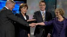 Left to right, BC Conservative Leader John Cummins, BC Liberal Leader Christy Clark, BC NDP Leader Adrian Dix and BC Green Leader Jane Sterk pose for a pre-debate photo in Vancouver, April 29, 2013. (JONATHAN HAYWARD/THE CANADIAN PRESS)