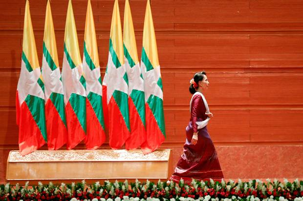 Aung San Suu Kyi, Myanmar's de facto leader, walks off the stage after delivering a speech to the nation about the Rohingya's plight on Sept. 19, 2017. Ms. Suu Kyi's election in 2015 was touted as a new era of democracy for Myanmar, but Rohingya – most of whom were prevented from voting in the historic election by a military-installed president – have become disillusioned.