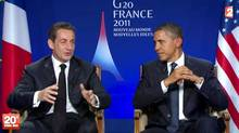 A TV grab made from French TV channel France 2 on November 4, 2011 shows US president Barack Obama (R) listening to his French counterpart Nicolas Sarkozy during their joint appearance for a pre-recorded interview at the end of the G20 meeting of Cannes. (AFP/Getty Images/AFP/Getty Images)