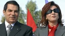 Zine El Abidine Ben Ali and his wife Leila are seen in Rades, outside Tunis, marking the 20th anniversary of his presidency on Nov. 7, 2007. (AP)