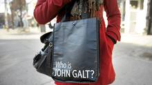 "A Lululemon Athletica shopping bag bears the words ""Who is John Galt,"" a catchphrase from Ayn Rand novel Atlas Shrugged. (Fred Lum/The Globe and Mail/Fred Lum/The Globe and Mail)"