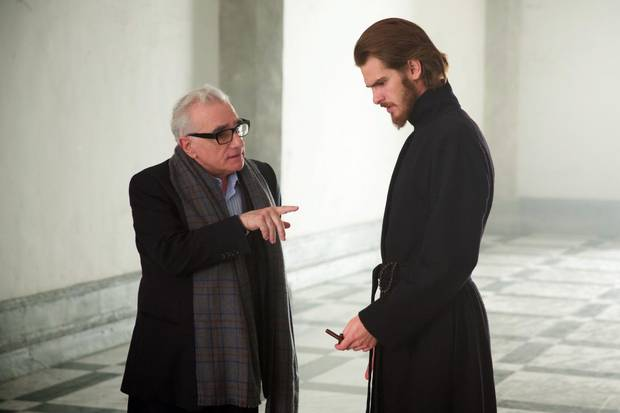 Martin Scorsese and Andrew Garfield on the set of Silence.