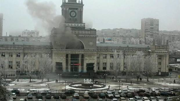 In this photo made by a public camera and made available by the Associated Press Television News smoke pours out after an explosion at Volgograd railway station, in Volograd Russia on Sunday, Dec. 29, 2013. More then a dozen people were killed and scores were wounded Sunday by a suicide bomber at a railway station in southern Russia, officials said, heightening concern about terrorism ahead of February's Olympics in the Black Sea resort of Sochi. (AP)