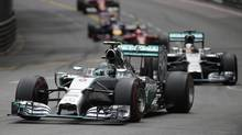 Mercedes Formula One driver Nico Rosberg of Germany leads his teammate Lewis Hamilton of Britain during the Monaco Grand Prix in Monaco May 25, 2014. (MAX ROSSI/REUTERS)