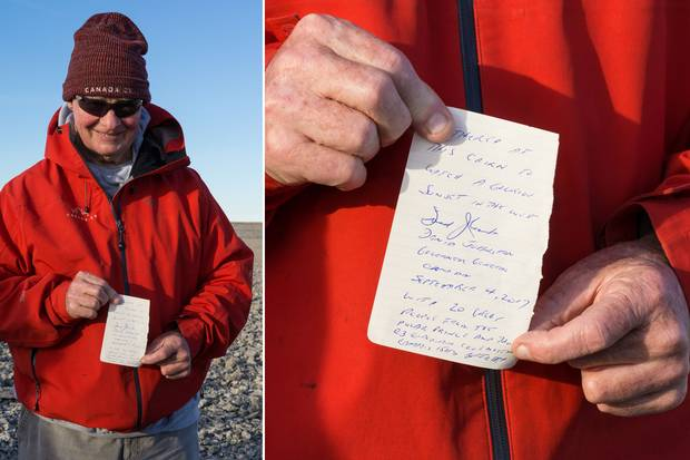 Governor-General David Johnston wrote a note to leave in a cairn on Sutton Island.