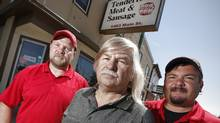 From left, Chris, Walter and Zenon Klopick, co-owners of Tenderloin Meat & Sausage Inc.  (JOHN WOODS FOR THE GLOBE AND MAIL)