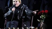 Ukrainian opposition leader Yulia Tymoshenko addresses anti-government protesters gathered in Independence Square in Kiev on Feb. 22, 2014. (VASILY FEDOSENKO/REUTERS)