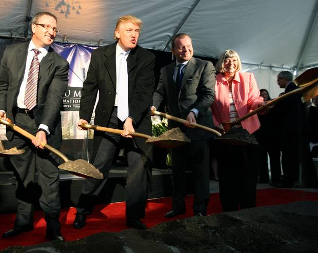 When things were 'great': from left, Val Levitan, president and CEO of Talon, Donald Trump, Alex Shnaider, chairman of Talon and city councillor Pam McConnell break ground for the Trump International Hotel and Tower in October 2007.