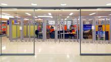 A bright, open area with a large, glassed-in meeting room for clubs has been installed in U of T's New College. Wilson basement student club area from boardroom. (VAN ELSLANDER CARTER ARCHITECTS INC.)