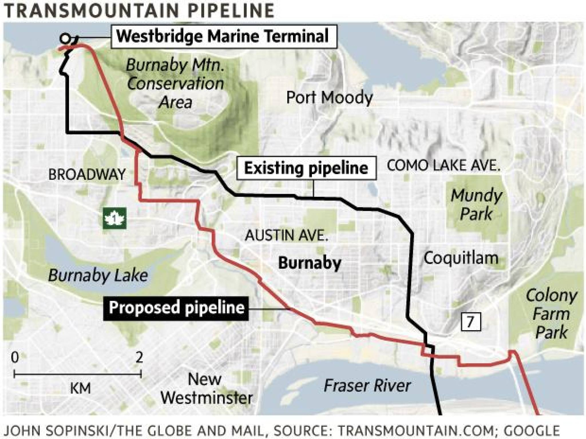 Burnaby, B C  says proposed Trans Mountain pipeline expansion routes