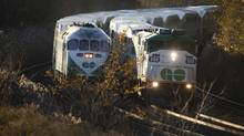 GO trains heading into Toronto Nov 10, 2010. (Moe Doiron/The Globe and Mail)