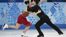 Canada's Tessa Virtue and Scott Moir perform their free dance in the ice dance portion of the team figure skating event at the Sochi Winter Olympics Sunday, February 9, 2014 in Sochi. (Paul Chiasson/THE CANADIAN PRESS)