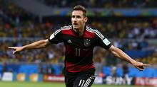 Germany's Miroslav Klose celebrates after scoring a goal during the 2014 World Cup semi-finals between Brazil and Germany at the Mineirao stadium in Belo Horizonte July 8, 2014. (MARCOS BRINDICCI/REUTERS)