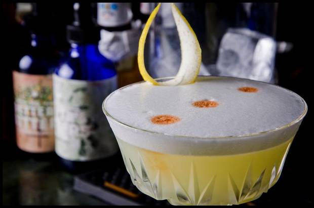A Vegan pisco sour made with Ms. Betters Bitters' Miraculous Vegan Foamer.
