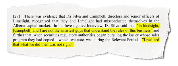 A passage from an Alberta Securities Commission decision in 2007 on Limelight Entertainment.