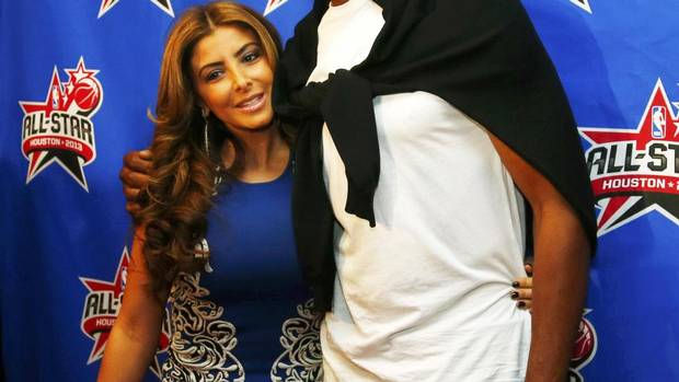 Former NBA player Scotty Pippen and his wife Larsa arrive for the 2013 NBA All-Star basketball game in Houston, Texas, February 17, 2013. (JEFF HAYNES/REUTERS)