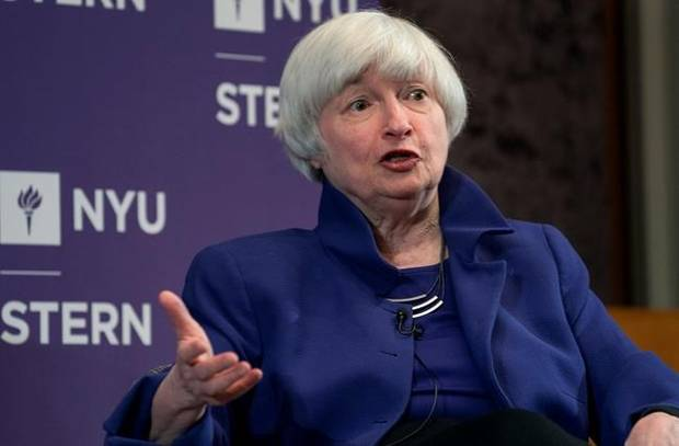 Federal Reserve Chair Janet Yellen participates in a moderated discussion at New York University's Stern School of Business, Tuesday, Nov. 21, 2017, in New York