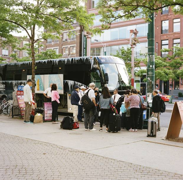 Toronto: The motor coach departs from Spadina Avenue in Chinatown.