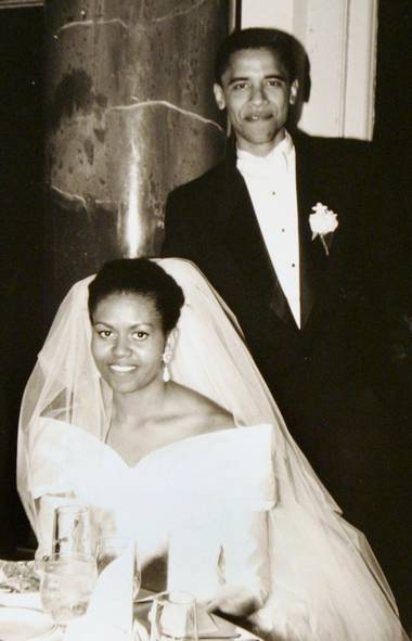 Barack Obama and his bride Michelle Robinson, a fellow Harvard Law School graduate, on their wedding day Oct. 18, 1992, in Chicago, Illinois. (Anonymous/ASSOCIATED PRESS)