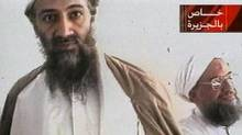 An al-Jazeera television still from Oct. 5, 2001, purports to show al-Qaida leader Osama bin Laden, left, and his top lieutenant, Egyptian Ayman al-Zawahiri. (The Associated Press)