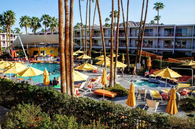 In Palm Springs, mid-century modernism and swimming pools abound, such as at the Saguaro Hotel.