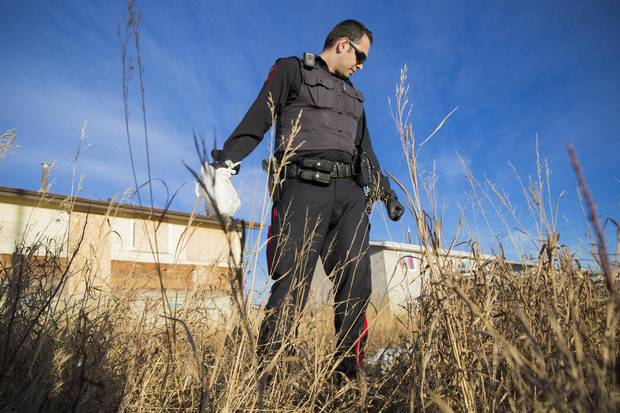 Constable Rayan Najjar with the Blood Tribe Police Service looks for used needles near an abandoned house.