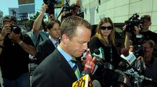 TORONTO.SEPT.1.2009 Michael Bryant, former Ontario Attorney genera; speaks to the media outside Toronto Police Services at 9 Hannah Ave.. this photo is full frame of lum4-010909d Bryant was involved in an incident that left a cyclist dead in the Yorkville area. PHOTO BY FRED LUM/ GLOBE AND MAIL DIGITAL IMAGE (Fred Lum/Fred Lum/THE GLOBE AND MAIL)