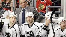 Los Angeles Kings head coach Darryl Sutter watches his team play against the Chicago Blackhawks during the first period of an NHL hockey game in Chicago, Sunday, March 11, 2012. The Kings won 3-2. (AP Photo/Nam Y. Huh) (Nam Y. Huh/The Associated Press)