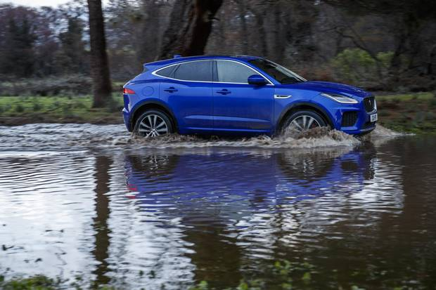 The E-Pace deftly handled a river crossing as well as a drive through sandy dunes.
