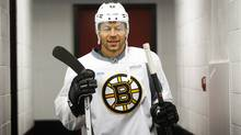 Boston Bruins' Jarome Iginla walks out to skate at his old stomping grounds at the Saddledome in Calgary, Alta., Monday, Dec. 9, 2013. (The Canadian Press)