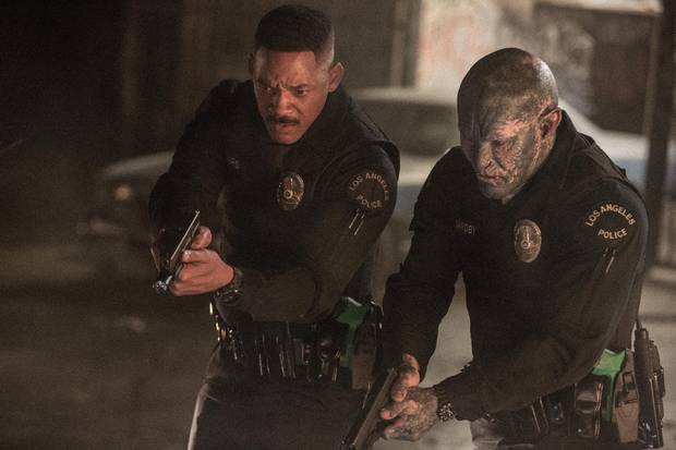 Bright takes place in a world where humans have co-existed with all manner of Tolkien-esque creatures, such as orcs. Joel Edgerton, right, plays Jakoby, the world's first orc police officer.