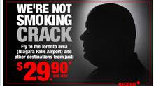 Ads on the website spirit.com show a silhouette of a man who looks like Mayor Ford, with smoke coming from his mouth.