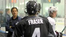 Brendan Shanahan looks on as players hit the ice during the NHL Research Development and Orientation Camp held at the Mastercard Centre on Aug. 18, 2011 in Etobicoke, Ont. (Dave Sandford/NHL/Getty Images/Dave Sandford/NHL/Getty Images)