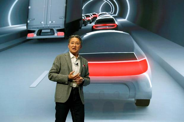Kazuo Hirai, president and CEO of Sony Corporation, talks about the use of Sony imaging sensors in autonomous driving applications during a news conference at CES in Las Vegas on Jan. 8, 2018.