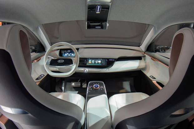 The Kia Niro EV Concept, an electric compact SUV, removes the traditional grille as it would not be needed for engine cooling.