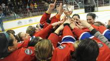 The CWHL's Montreal team celebrates their win at the Clarkson Cup Finals presented by Scotiabank at the Barrie Molson Centre on March 27, 2011. (CNW Group/Scotiabank) (Hand-Out/CNW Group)