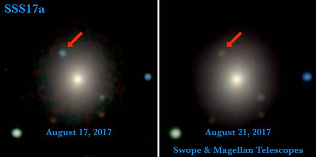 Images from the Swope and Magellan telescopes show the first optical evidence of the stars' collision. In the first image from Aug. 17, the source of the gravitational waves is brighter; in the second, four days later, the source has faded significantly and changed to a reddish colour.