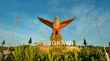 The sculpture at Dataran Helang, also known as Eagle Square, greets visitors who arrive by ferry. (Tourism Malaysia)