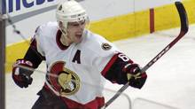 Ottawa Senators defenceman Wade Redden celebrates a goal (Karl B. DeBlaker/CP)