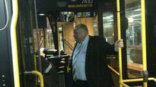 Toronto Mayor Rob Ford is pictured on a TTC bus. (Twitter/Isaac Ransom)