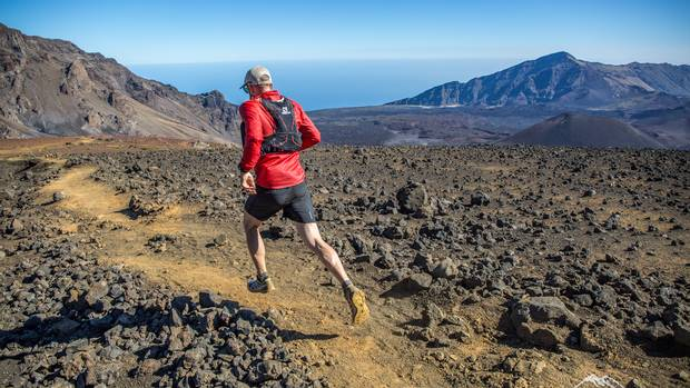 Robbins runs at Haleakala.