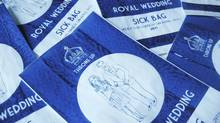 "A royal wedding souvenir for those who are less that enthusiastic about the forthcoming wedding of Britain's Prince William and Kate Middleton - a special edition sick bag. The bags, similar to those used on airlines and decorated with a crown, a drawing of the royal couple and the slogan ""Throne Up"", sell for three pounds and are the idea of illustrator Lydia Leith, who is selling via her website. (Lydia Leith/Lydia Leith)"