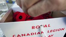 A box of Royal Canadian Legion Poppies for Remembrance/Poppy Day photographed in Toronto, Ontario, Canada. (Photo By Deborah Baic/The Globe and Mail/Photo By Deborah Baic/The Globe and Mail)