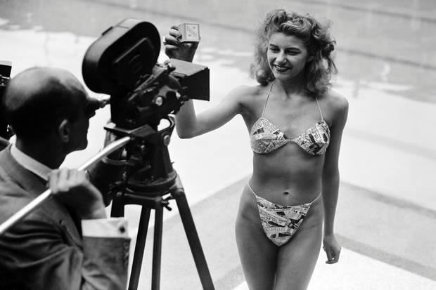 Picture taken July 5, 1946, at the Molitor pool in Paris of a candidate for a beauty contest wearing a bikini by Louis Réard. Sixty years ago the bikini exploded onto the world, and a trip to the beach has never been the same since. Once banned in several countries as indecent, today few women's wardrobes are complete without it.