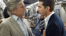 Michael Douglas and Shia LaBoeuf in Wall Street: Money Never Sleeps.