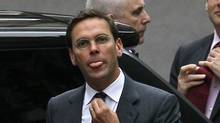 James Murdoch arrives at the Levenson media inquiry to give evidence at the High Court in London, Tuesday, April, 24, 2012. (Alastair Grant/THE ASSOCIATED PRESS)
