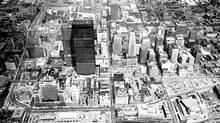An aerial view of downtown Toronto taken August 1, 1968, with the twin towers of the Toronto-Dominion Centre rising over surrounding buildings. (Fred Ross/The Globe and Mail)