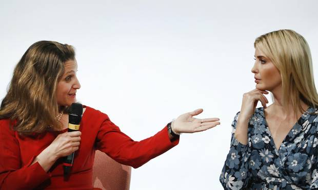 First Daughter and Advisor to the US President Ivanka Trump listens to Canada's Minister of Foreign Affairs Chrystia Freeland during a panel discussion at the W20 women's empowerment summit sponsored by the Group of 20 major economic powers on April 25, 2017 in Berlin.