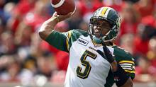 Edmonton Eskimos' quarterback Kerry Joseph throws the ball during first half CFL football action against the Calgary Stampeders in Calgary, Alta., Monday, Sept. 3, 2012. (Jeff McIntosh/THE CANADIAN PRESS)
