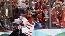 Canada's Jonathan Toews (16) reacts after scoring a goal in the first period of the men's gold medal hockey game against USA at the Vancouver 2010 Olympics in Vancouver, British Columbia, Sunday, Feb. 28, 2010. (Matt Slocum/AP)